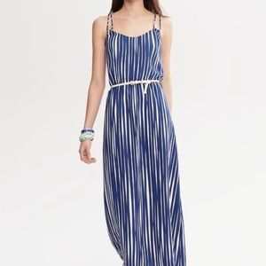 BANANA REPUBLIC • STRIPED CROSS STRAP MAXI DRESS